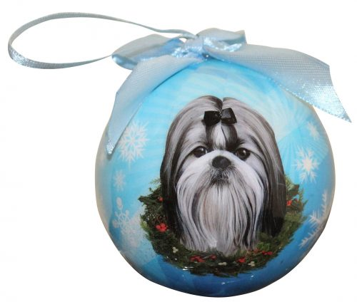 Hanging Bauble - Black/White Shih Tzu
