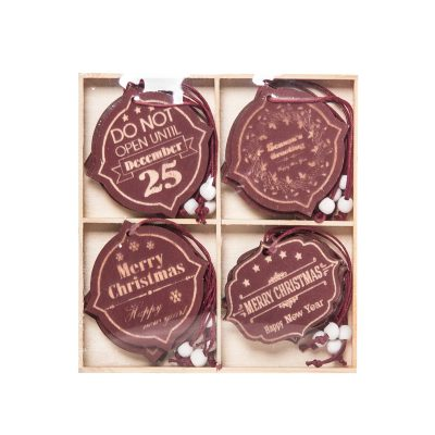Wooden Xmas Hanging Decoraions, Box of 16, 1.5cm
