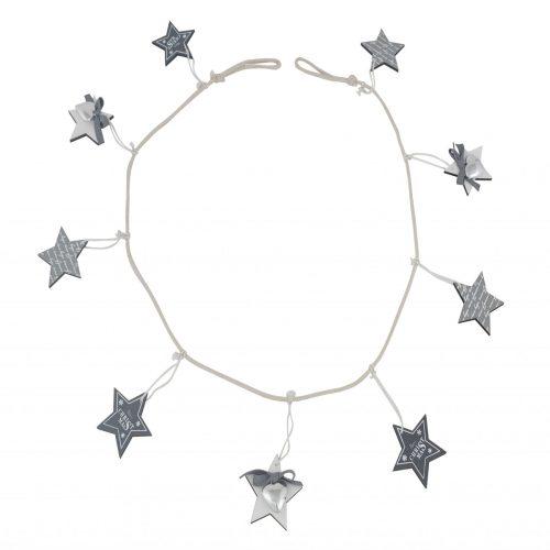 Grey Wood Star Garland 150cm