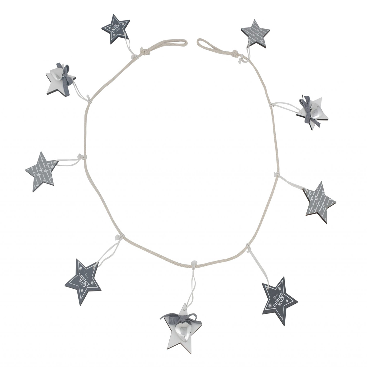 Grey Wood Star Garland 150cm