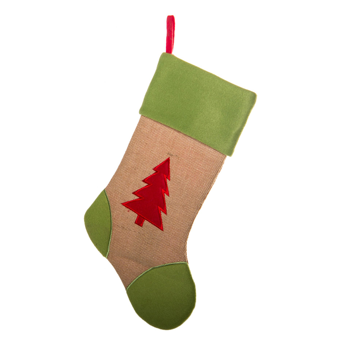 Hessian Stocking with Tree 46cm