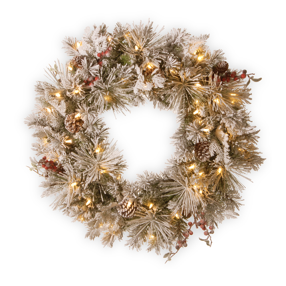 76cmD LED Snowy Bedford Wreath- National Tree Company