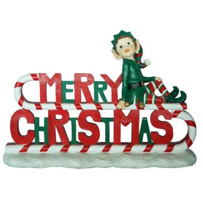 Elf on Merry Xmas Sign 91cmL