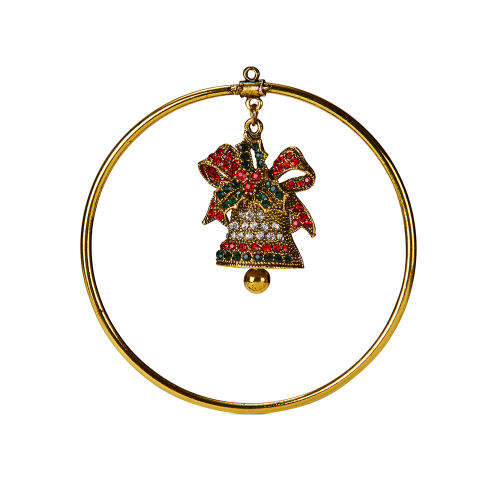 Gold Ring with Christmas Bell 8cm