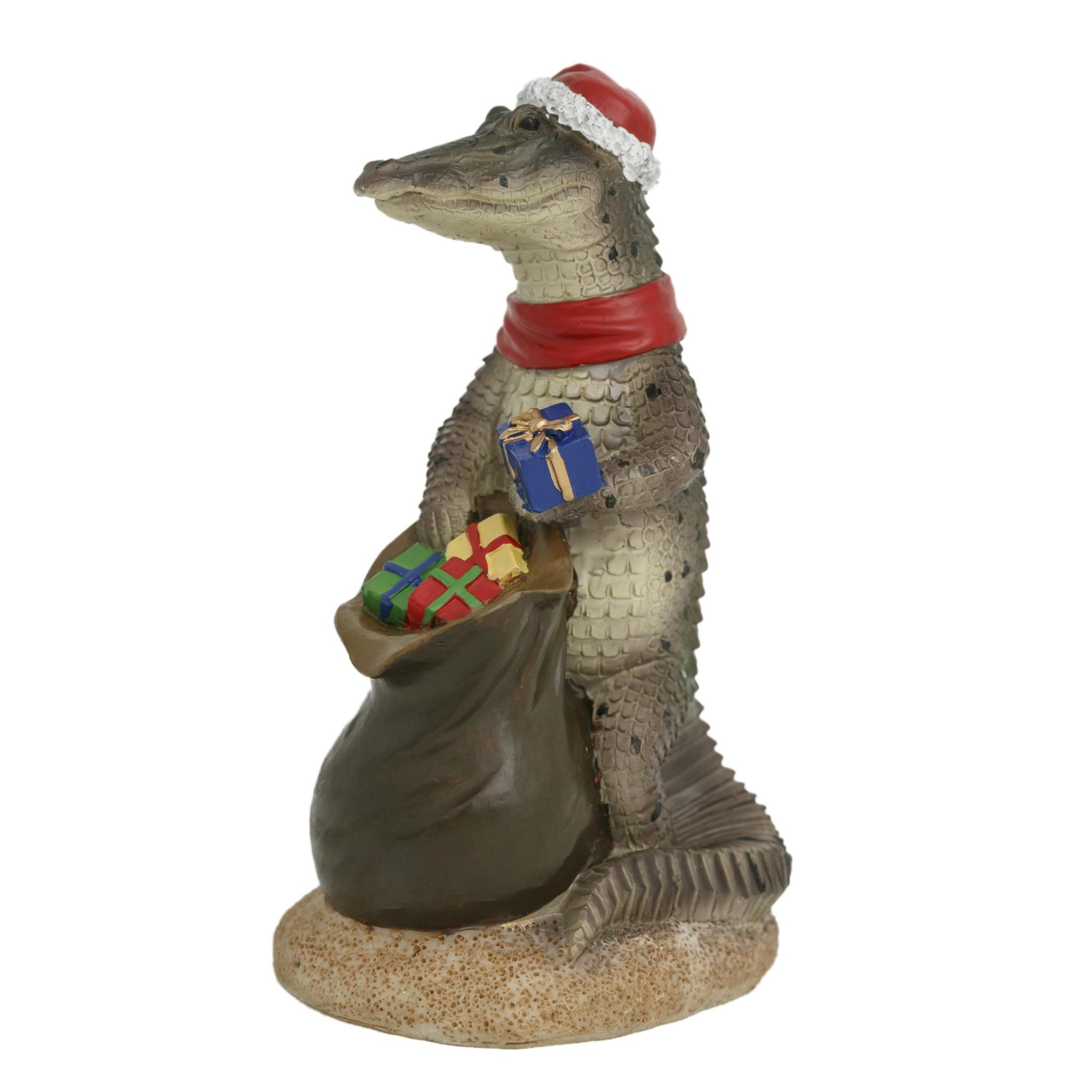 Crocodile with Sack Christmas Figure13cm