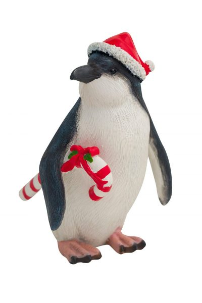 Penguin with Candy Cane Figure 15cmH