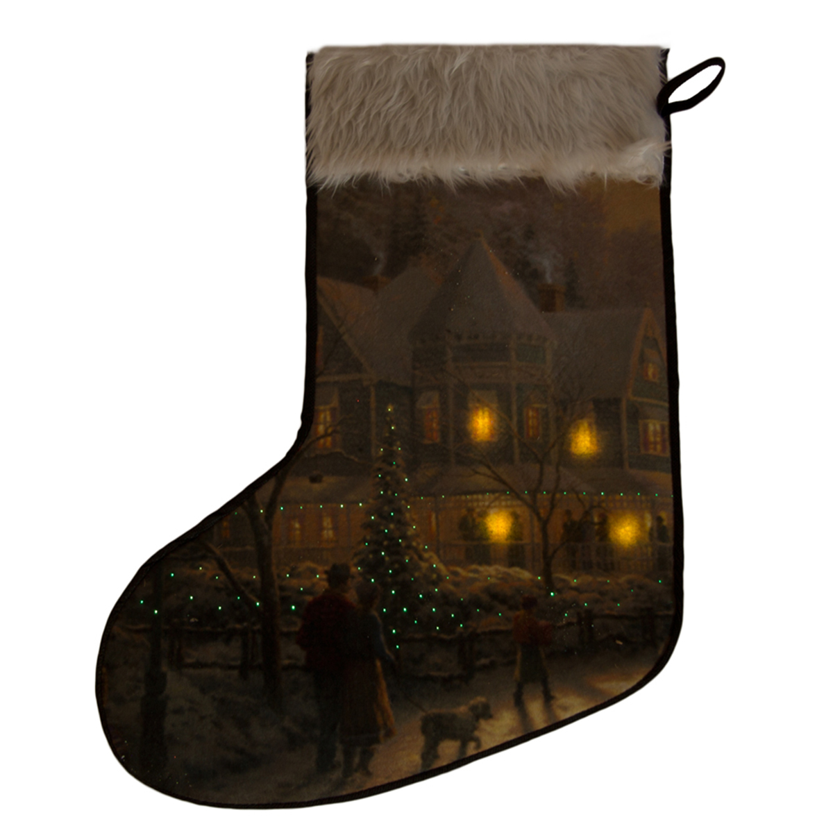 Fibreoptic Tapestry Stocking - Chalet 50x 40cm