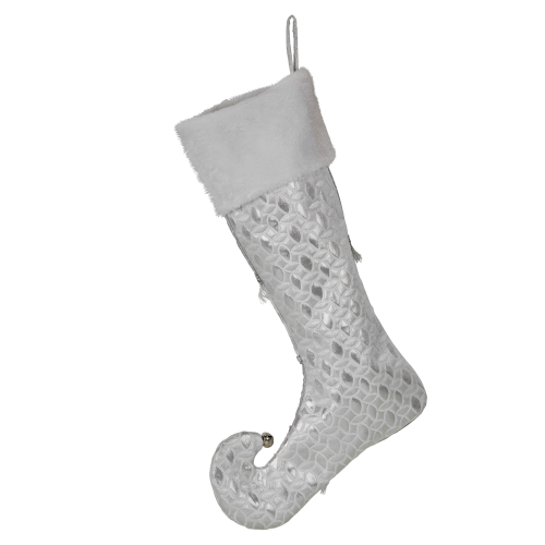 Silver Stocking with White Cuff 51cmH