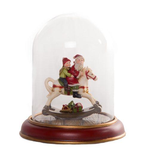 Santa on Horse Glass Dome 19cm