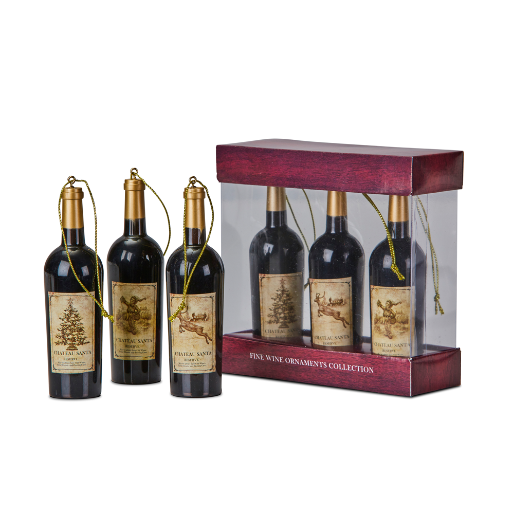 Plastic Wine Bottle Box Set/3 13cm