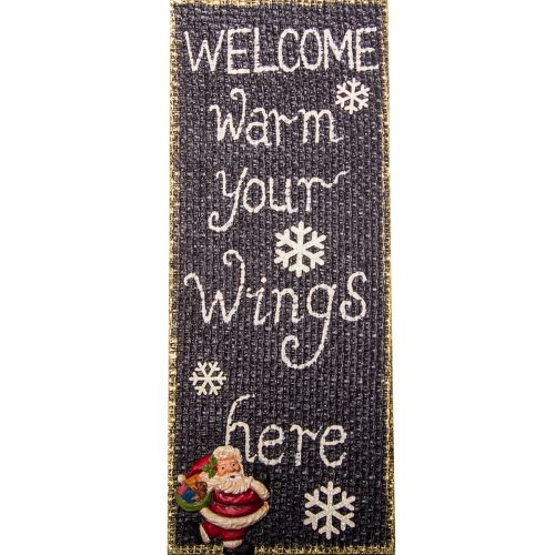 Welcome Plaque Black 58cm x 23cm