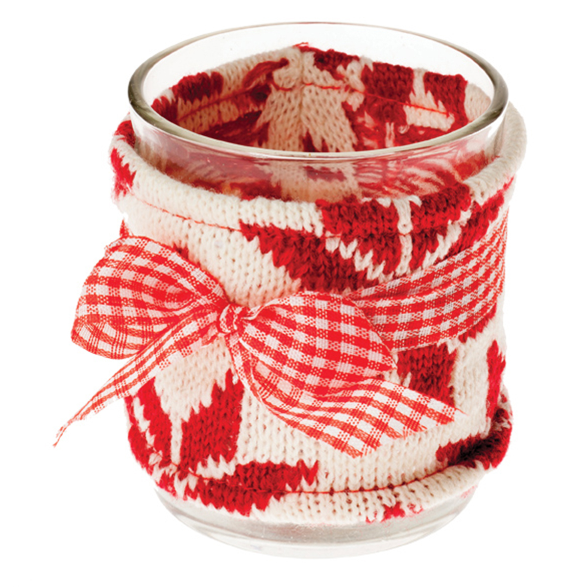 Candleholder- Glass with Knitted Cover - B